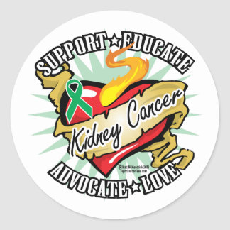 Kidney Cancer Classic Heart Classic Round Sticker