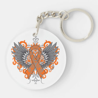 Kidney Cancer Cool Awareness Wings Double-Sided Round Acrylic Keychain