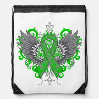 Kidney Cancer Cool Awareness Wings Drawstring Bags