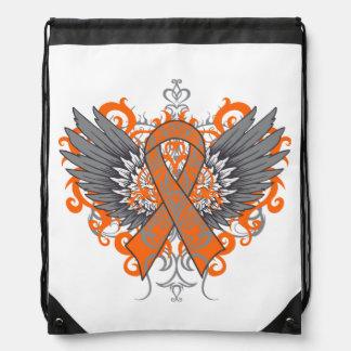Kidney Cancer Cool Awareness Wings Drawstring Backpacks