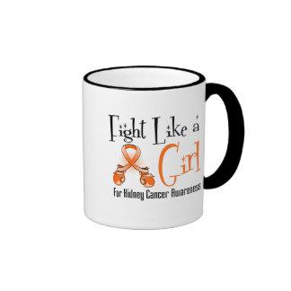 Kidney Cancer Cool Retro Fight Like a Girl 2 Mug