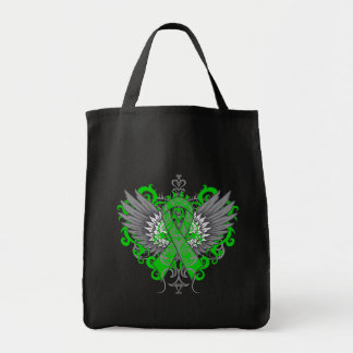 Kidney Cancer Cool Wings Green Canvas Bags