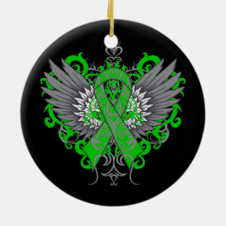Kidney Cancer Cool Wings Green Ceramic Ornament