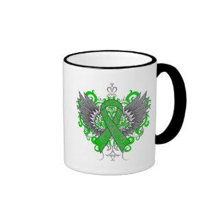 Kidney Cancer Cool Wings Green Coffee Mugs