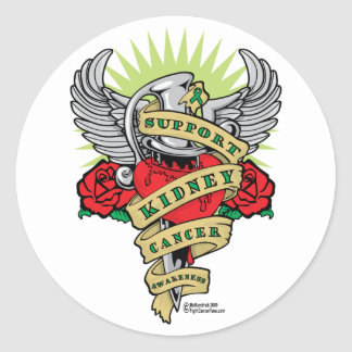 Kidney Cancer Dagger Classic Round Sticker