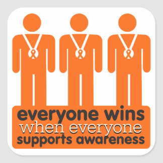 Kidney Cancer Everyone Wins With Awareness v2 Square Sticker