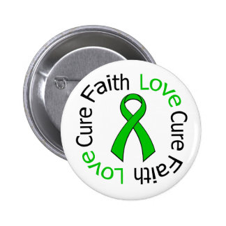Kidney Cancer Faith Love Cure (Green Ribbon) 2 Inch Round Button