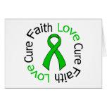 Kidney Cancer Faith Love Cure (Green Ribbon) Card