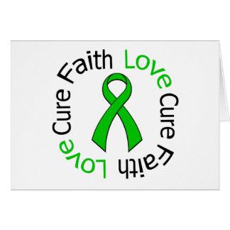 Kidney Cancer Faith Love Cure (Green Ribbon) Greeting Card