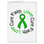 Kidney Cancer Faith Love Cure (Green Ribbon) Cards