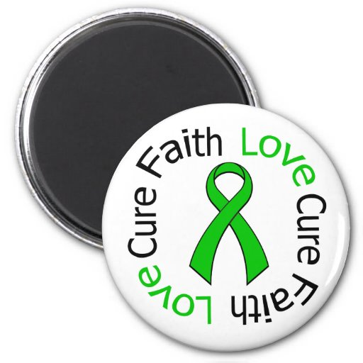 Kidney Cancer Faith Love Cure (Green Ribbon) Magnets