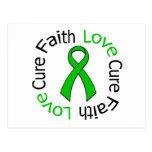 Kidney Cancer Faith Love Cure (Green Ribbon) Postcards