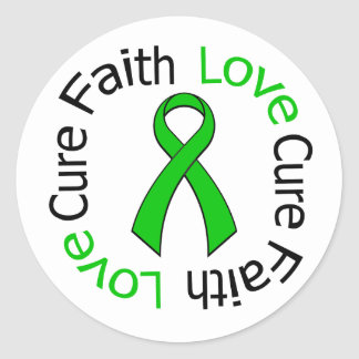 Kidney Cancer Faith Love Cure (Green Ribbon) Classic Round Sticker