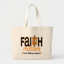 Kidney Cancer Faith Matters Cross 1 Large Tote Bag