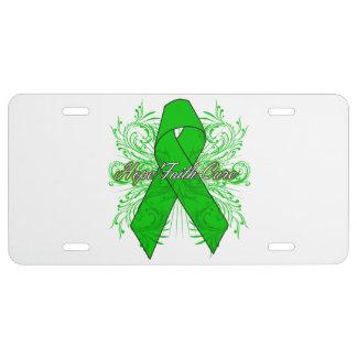 Kidney Cancer Flourish Hope Faith Cure v2 License Plate