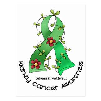Kidney Cancer FLOWER RIBBON 1 (Green) Postcard