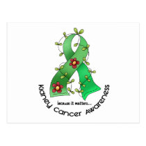 Kidney Cancer FLOWER RIBBON 1 (Green) Postcard