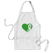 Kidney Cancer Green Heart with ribbon apron