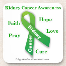 Kidney Cancer Green Ribbon Coaster