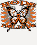 Kidney Cancer Hope Believe Butterfly Shirts
