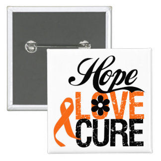 Kidney Cancer HOPE LOVE CURE Gifts 2 Inch Square Button