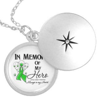 Kidney Cancer In Memory of My Hero v2 Round Locket Necklace