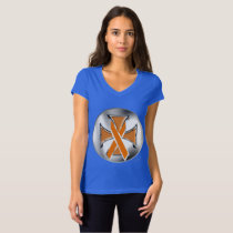 Kidney Cancer Iron Cross Ladies Jersey V-neck Tee