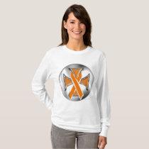 Kidney Cancer Iron Cross Ladies Long Sleeve T-Shirt