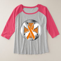 Kidney Cancer Iron Cross Ladies Raglan T-Shirt