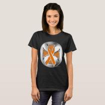 Kidney Cancer Iron Cross Ladies T-Shirt
