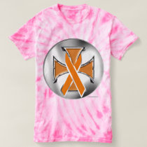 Kidney Cancer Iron Cross Ladies Tie-Dye T-Shirt