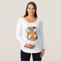 Kidney Cancer Iron Cross Maternity Long Sleeve Maternity T-Shirt
