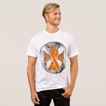 Kidney Cancer Iron Cross Men's Burnout T-Shirt