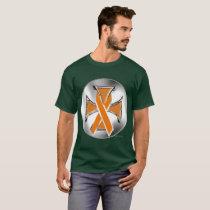 Kidney Cancer Iron Cross Men's Dark  T-Shirt