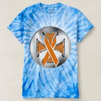 Kidney Cancer Iron Cross Men's Tie-Dye T-Shirt