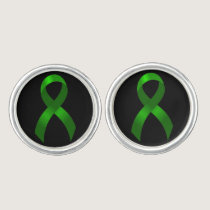 Kidney Cancer | Liver Cancer | Green Ribbon Cufflinks