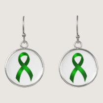 Kidney Cancer | Liver Cancer | Green Ribbon Earrings