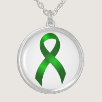 Kidney Cancer | Liver Cancer | Green Ribbon Silver Plated Necklace