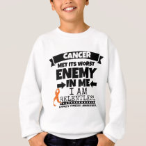 Kidney Cancer Met Its Worst Enemy in Me (Orange) Sweatshirt