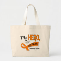 Kidney Cancer MY HERO MY BOYFRIEND 42 Large Tote Bag