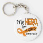 Kidney Cancer MY HERO MY HUSBAND 42 Basic Round Button Keychain