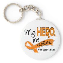 Kidney Cancer MY HERO MY HUSBAND 42 Keychain