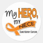 Kidney Cancer MY HERO MY NIECE 42 Round Stickers