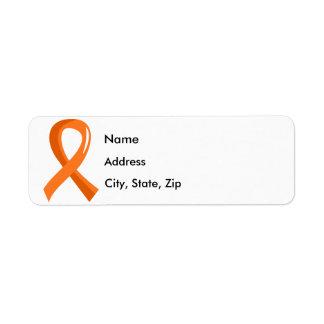 Kidney Cancer Orange Ribbon 3 Return Address Label