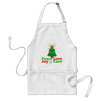 Kidney Cancer Peace Love Joy Cure 2 Adult Apron
