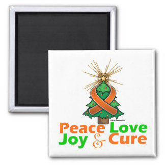 Kidney Cancer Peace Love Joy Cure 2 Inch Square Magnet