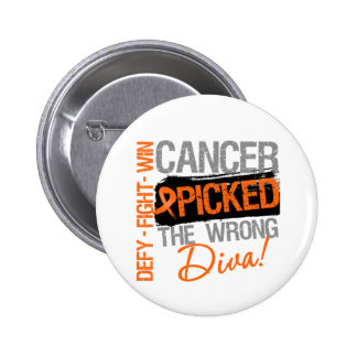 Kidney Cancer Picked The Wrong Diva v2 2 Inch Round Button