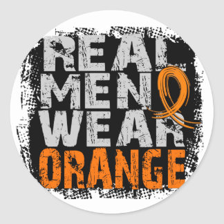 Kidney Cancer Real Men Wear Orange Round Stickers