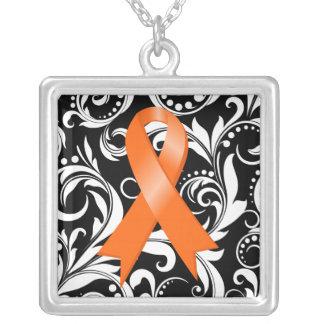 Kidney Cancer Ribbon Deco Floral Noir Pendants