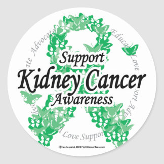 Kidney Cancer Ribbon of Butterflies Classic Round Sticker